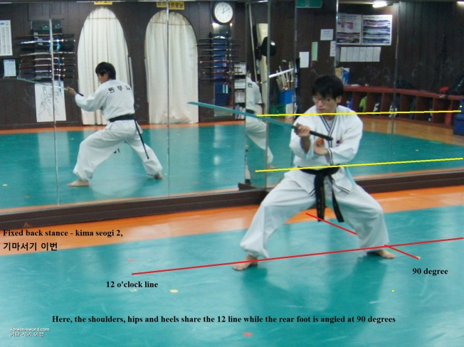 gojeon muye, korean-sword, stances, fixed back stance
